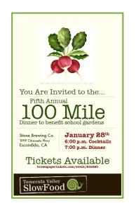 100 Mile Dinner to benefit school gardens